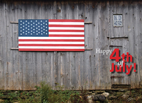 4th of july barn flag