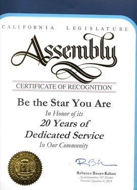 20th Ca. legislature Honor for BTSYA