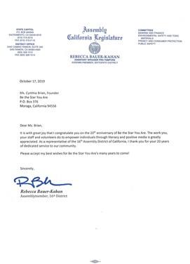 20th letter-Ca. legislature Honor for BTSYA